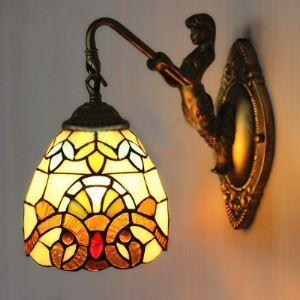 Bronze Mermaid Baroque Stained Glass Tiffany Downlight Wall Sconce