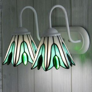 Green Leaves Pattern Sconce Two-lighted Downward Tiffany Wall Lamp