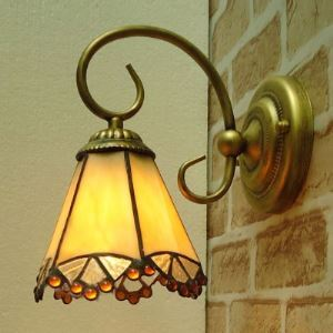 Bronze Base 8 Inch High Yellow Stained Glass One-light Tiffany Wall Sconce