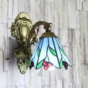 Traditional Bronze Base 6 Inch Wide Blue Stained Glass One-light Tiffany Wall Sconce