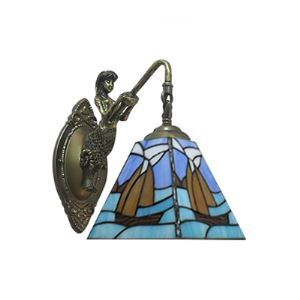 Blue Wall Sconce in Tiffany Style with One Light Pirate Ship Pattern
