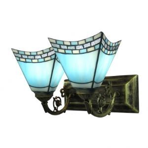 Romantic Sky Blue Sconce Tiffany Two Light Bathroom Lighting Highlighted with Etched Arm