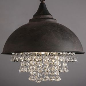 (For Sale) Industrial Pendant Lighting Black Bowl Hanging Light with Crystal Drops