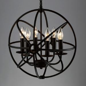 Wrought Iron Globe Cage Industrial Suspension Pendant