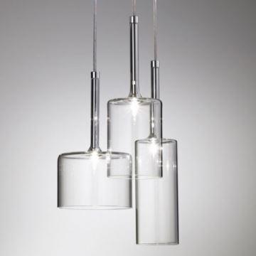 Gl Pendant Light Three Lights Round Canopy Clear Multi In Designer Style