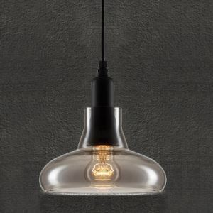 20CM Smoke Grey Vintage Industrial LOFT Glass Pendant