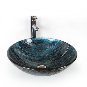 Modern Tempered Glass Sink ( Dark Blue Faucet Not Included)