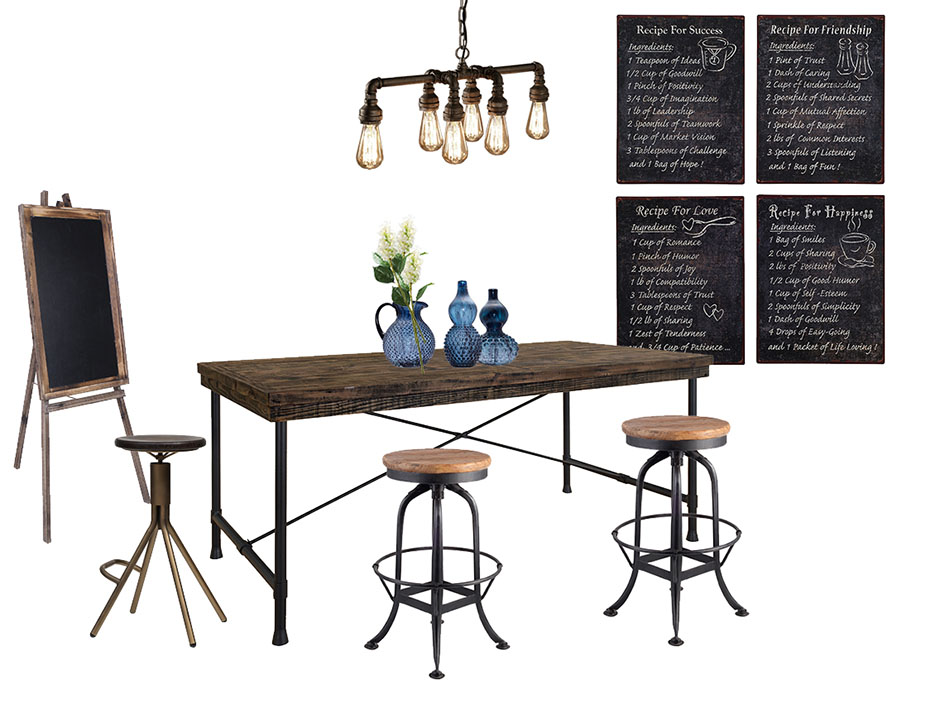 Retro industrial style restaurant/Bar area
