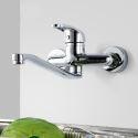 Wall Mounted Kitchen Tap Brass Kitchen Sink Faucet Chrome Swivel Wall Mount Kitchen Faucet