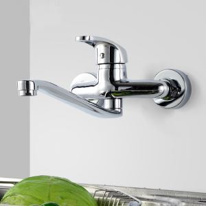 Wall Mounted Kitchen Tap Brass Kitchen Sink Faucet Chrome Swivel Wall Mount Kitchen Faucet