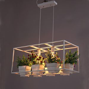 A Greenhouse Pot Restaurant Dining Room Lron Chandelier Double Personality Energy Saving