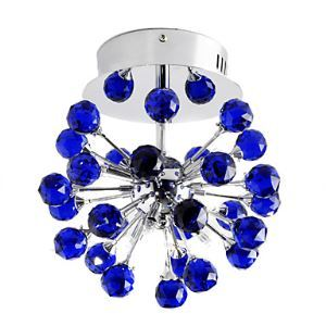 6-light Floral Shape K9 Crystal Ceiling Light-Blue (0942-98004-C-6B)