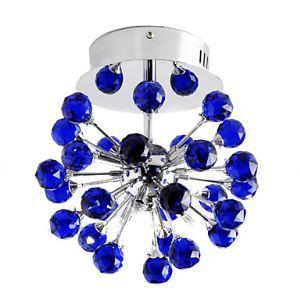 6-light Floral Shape K9 Crystal Ceiling Light-Blue (0942-98004-C-6B)