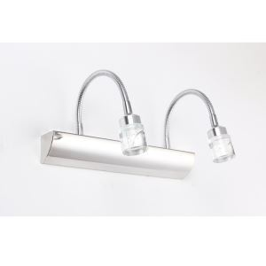 Modern Chrome Finish 2W 3W LED Mirror Wall Light with Circle Crystal Shade & Bubbles Energy Saving