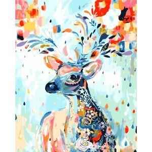 Modern Simple DIY Hand Panting DIY Oil Painting Coloful Deer Design 40*50 B