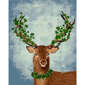 Modern Simple DIY Hand Panting DIY Oil Painting Deer in Spring Wall Art 40*50