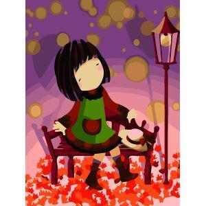 Modern Simple DIY Hand Panting DIY Oil Painting Girl in the AutumnWall Art 30*40