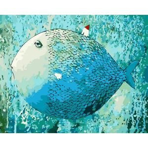 Modern Simple DIY Hand Panting DIY Oil Painting Fish Wall Art 40*50