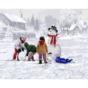 Christmas Modern Simple DIY Hand Panting DIY Oil Painting Christmas Snow Wall Art 40*50 A Christmas Gift Christmas Decortaion