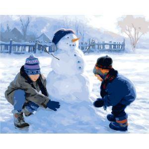 Christmas Modern Simple DIY Hand Panting DIY Oil Painting Christmas Snow Wall Art 40*50 B Christmas Gift Christmas Decortaion