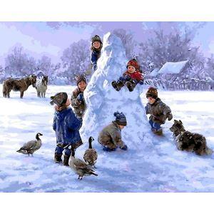 Christmas Modern Simple DIY Hand Panting DIY Oil Painting Christmas Snow Wall Art 40*50 C Christmas Gift Christmas Decortaion