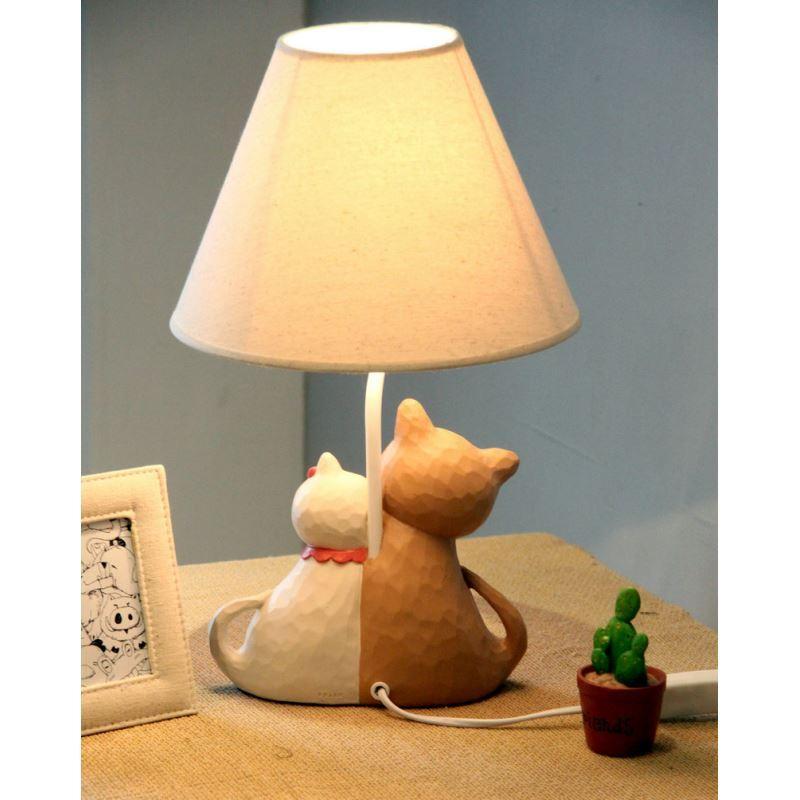 Modern Simple Creative Couple Cat Lamp Linen Shade Kitten
