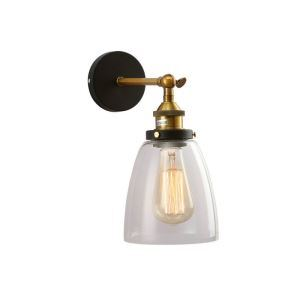 American Sconce Retro Village Iron Personality Single Head Wall Light Bell Modeling Glass Lampshade