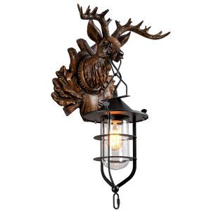 American Loft Retro Sconce Sconce Industrial Style Resin Personality Creative Deer Head Modeling Single Head Wall Light