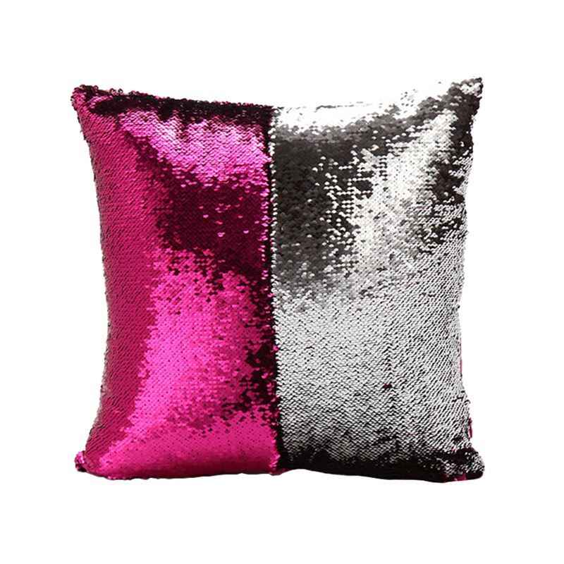 Mermaid Pillow Cover Fuchsia Silver Change Color Sequins