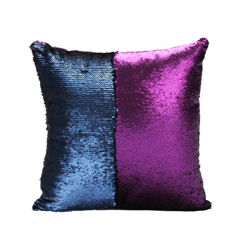 Mermaid Pillow Cover Purple Dark Blue Change Color Sequins