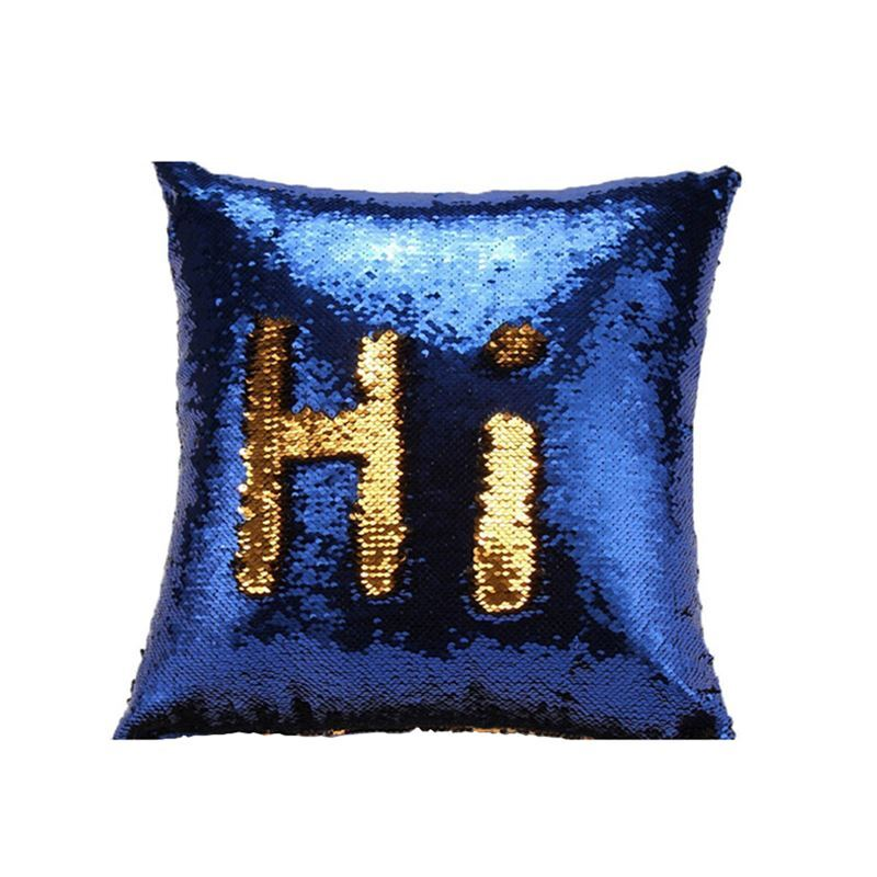 Mermaid Pillow Cover Gold Blue Change Color Sequins