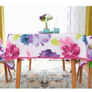 Purple Ink Flower Waterproof Pastoral Cloth Circular Rectangular Tablecloths Coffee Table Western Dinning Tablecloths