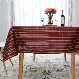 Festive New Year Plaid Western Tablecloth Tea Table Cloth Red Warm Gold And Silver