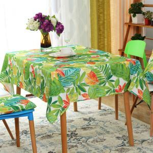 American Wax Painting Green Pastoral Waterproof Round Table Coffee Table Western Table Cloth