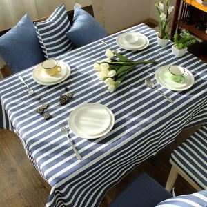 Mediterranean Blue-gray Literary Tablecloth Cotton Striped Tablecloths Coffee Table Cloth Modern Simple Stripe Western Table Cloth