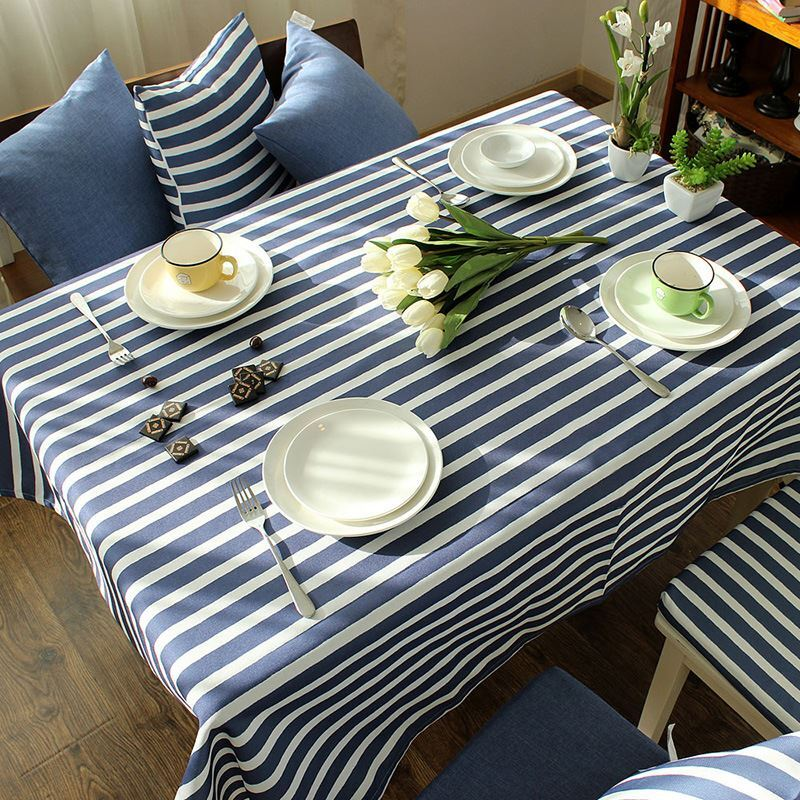 Mediterranean Blue Gray Literary Tablecloth Cotton Striped