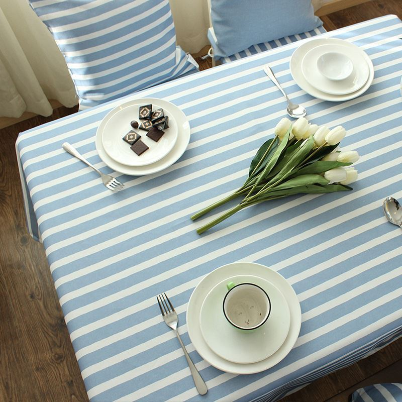 Mediterranean Blue Gray Literary Tablecloth Cotton Striped