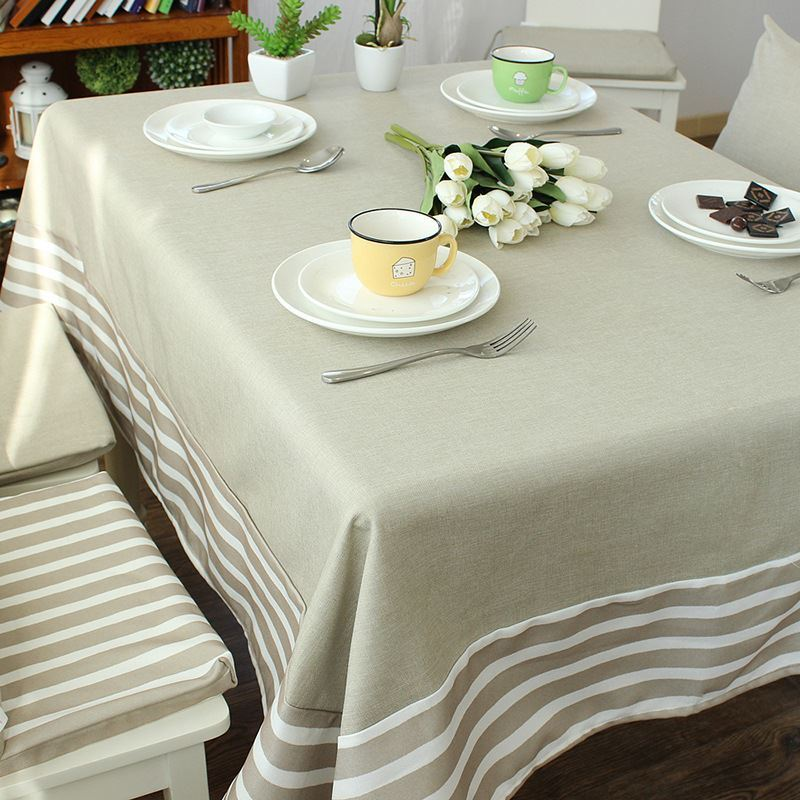 Mediterranean Blue Gray Literary Tablecloths Cotton And