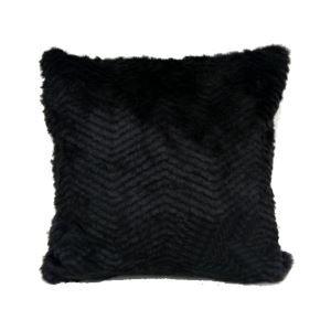 Black Stripes Faux Fur Pillow Cover 45*45cm Single Side