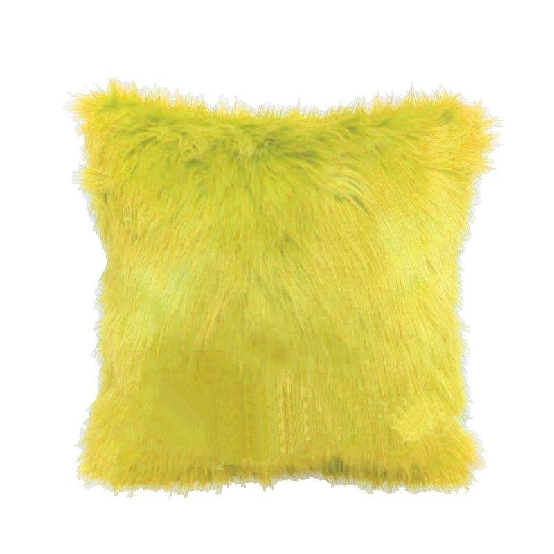 Goose Yellow Faux Rabbit Fur Pillow Cover Fur Household