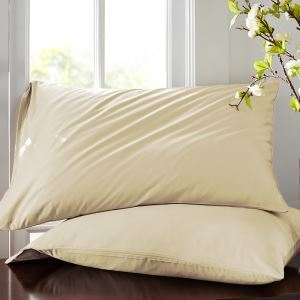 60S Satin Cotton Single Cotton Pillowcase Solid Color Pillowcase 48 * 74cm (a pair)