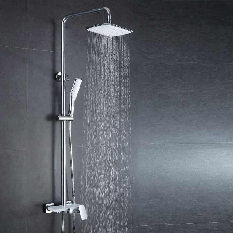 European Modern Copper Shower Sets Hot And Cold Shower Faucet White Silver White