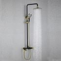 Black Shower Mixer Set Contemporary Exposed Shower System Rain Head and Hand Sprayer with Slider Rail