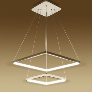 Modern Simple Metal + Acrylic White / Warm White Light LED Patch Ceiling Light 2 Layers 50CM+30CM Energy Saving