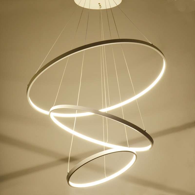 Modern Simple Led Pendant Light Metal Acrylic White