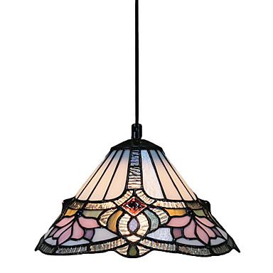 60w 1 Light Tiffany Pendant Light With Glass Shade Lotus