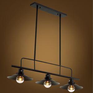 American Rural Industrial Retro Style Iron Craft Black/White Three Lights Pendant Light