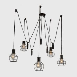 American Rural Industrial Retro Style Iron Craft Lifting Small Iron Cage Pendant Light