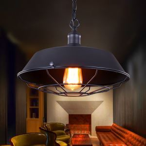 American Rural Industrial Retro Style Iron Craft Black Pendant Light