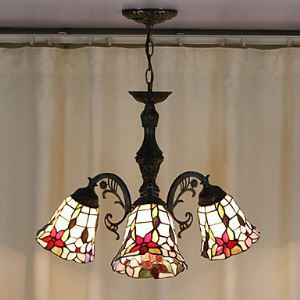 60W Antique Tiffany Style Chandelier with 3 Lights